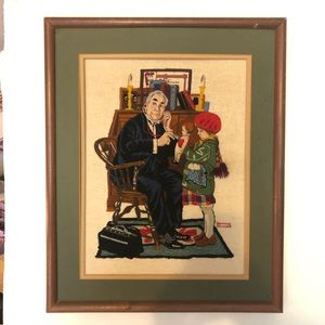 Norman Rockwell Dr & doll  needlepoint framed